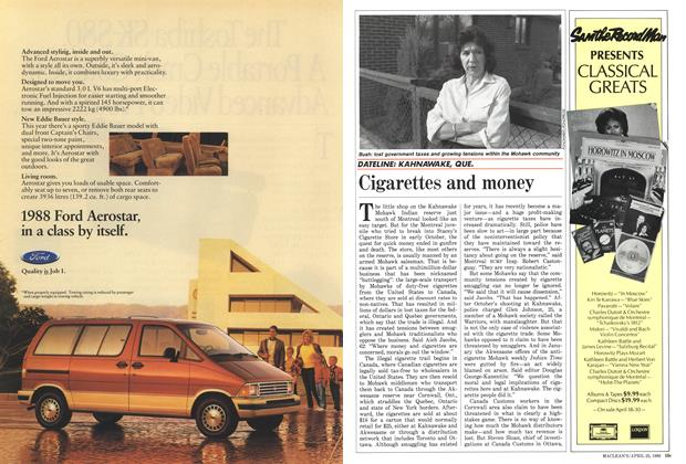 Article Preview: Cigarettes and money, April 1988 | Maclean's