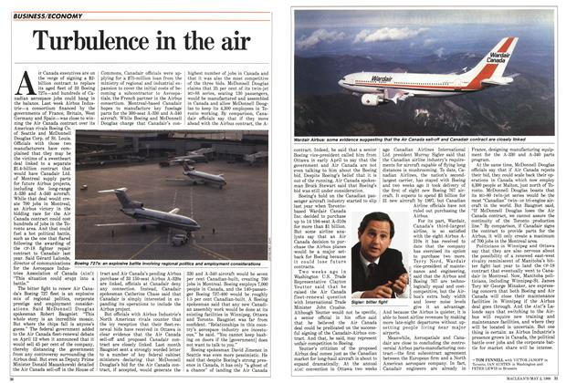 Article Preview: Turbulence in the air, May 1988 | Maclean's