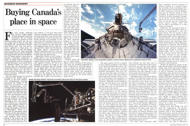 Article Preview: Buying Canada's place in space, May 1988 | Maclean's