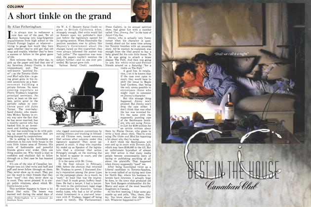 Article Preview: A short tinkle on the grand, May 1988 | Maclean's