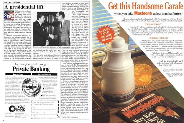 Article Preview: A presidential lift, May 1988 | Maclean's