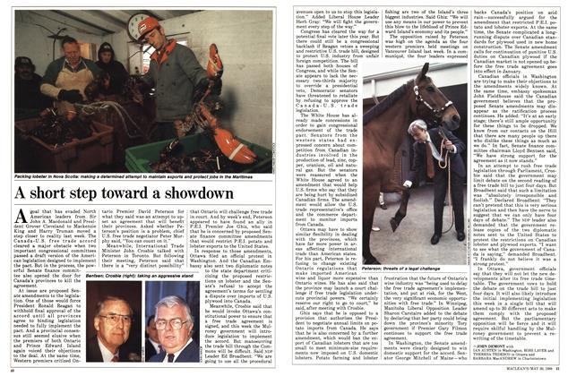 Article Preview: A short step toward a showdown, May 1988 | Maclean's