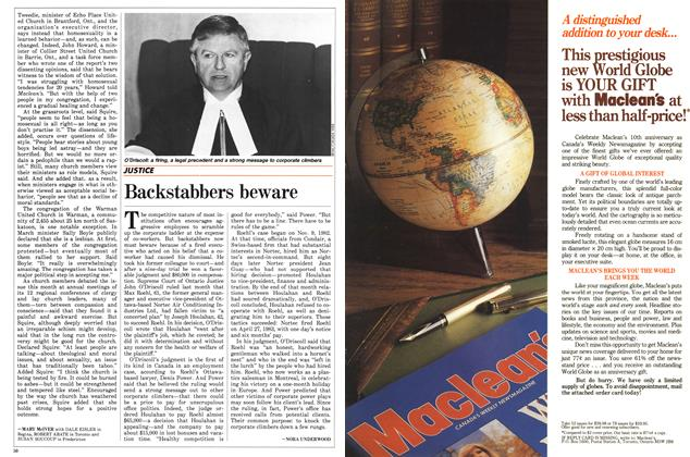 Article Preview: Backstabbers beware, May 1988 | Maclean's