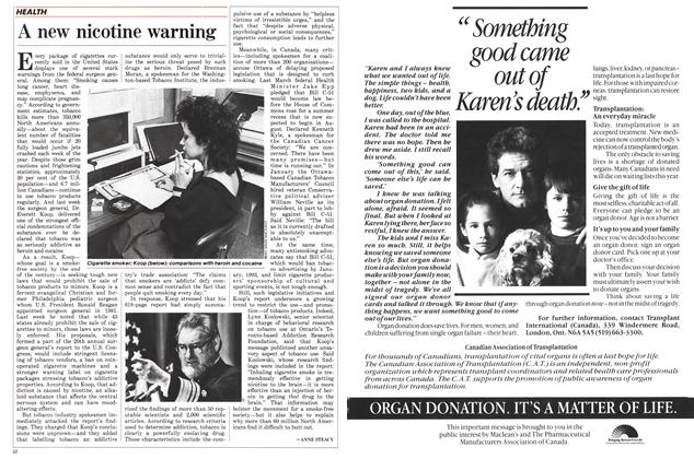 Article Preview: A new nicotine warning, May 1988 | Maclean's