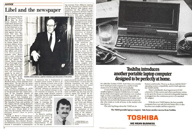 Article Preview: Libel and the newspaper, June 1988 | Maclean's