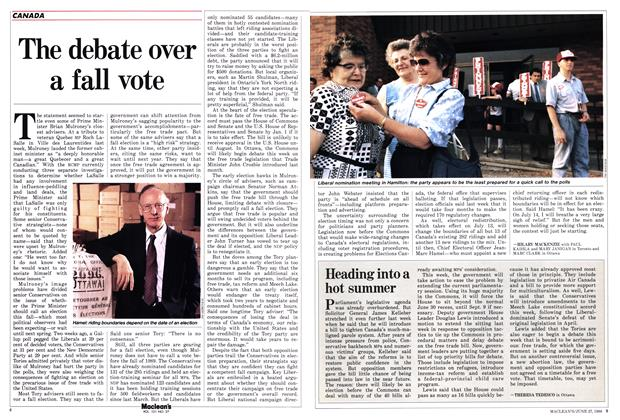 Article Preview: The debate over a fall vote, June 1988 | Maclean's