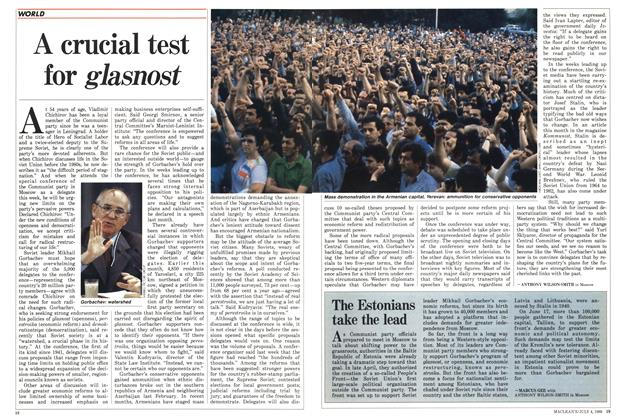 Article Preview: A crucial test for glasnost, July 1988 | Maclean's