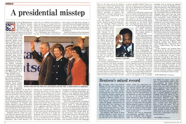 Article Preview: Bentsen's mixed record, July 1988 | Maclean's