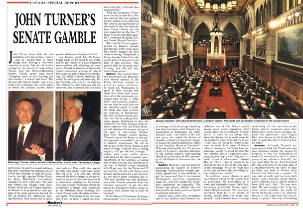 Article Preview: JOHN TURNER'S SENATE GAMBLE, August 1988 | Maclean's