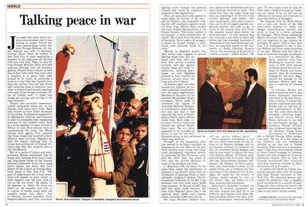 Article Preview: Talking peace in war, August 1988 | Maclean's