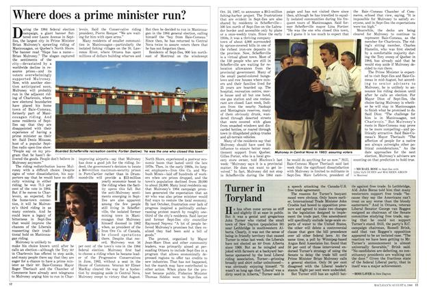 Article Preview: Where does a prime minister run?, August 1988 | Maclean's