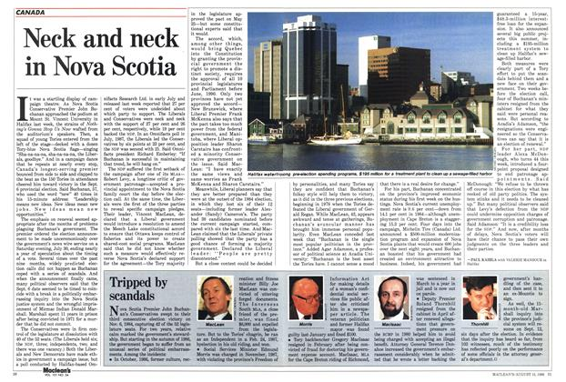 Article Preview: Neck and neck in Nova Scotia, August 1988 | Maclean's