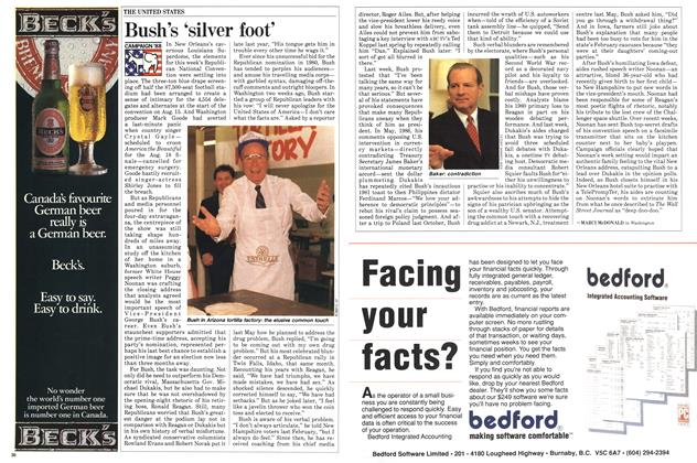 Article Preview: Bush's 'silver foot', August 1988 | Maclean's