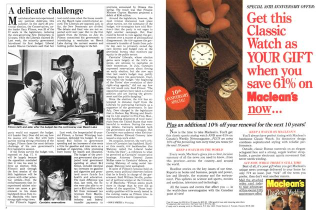 Article Preview: A delicate challenge, August 1988 | Maclean's