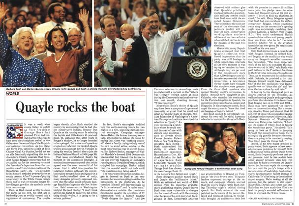 Article Preview: Quayle rocks the boat, August 1988 | Maclean's