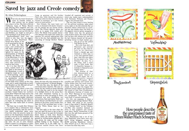 Article Preview: Saved by jazz and Creole comedy, August 1988 | Maclean's