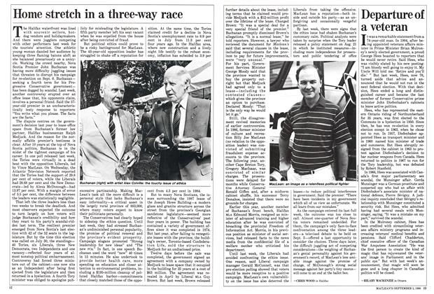 Article Preview: Home stretch in a three-way race, September 1988 | Maclean's