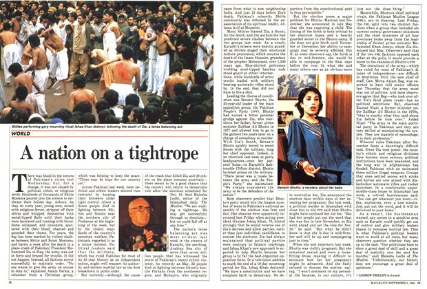 Article Preview: A nation on a tightrope, September 1988 | Maclean's