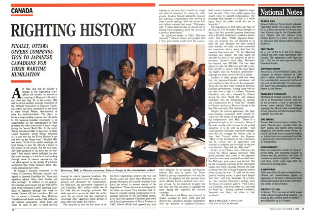 Article Preview: RIGHTING HISTORY, October 1988 | Maclean's