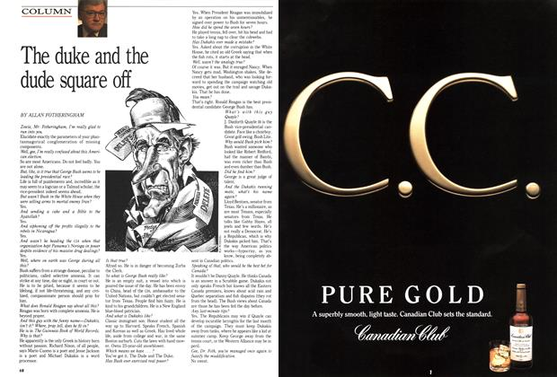 Article Preview: The duke and the dude square off, October 1988 | Maclean's