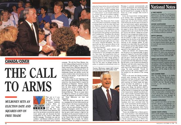 Article Preview: THE CALL TO ARMS, October 1988 | Maclean's