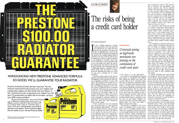 Article Preview: The risks of being a credit card holder, October 1988 | Maclean's