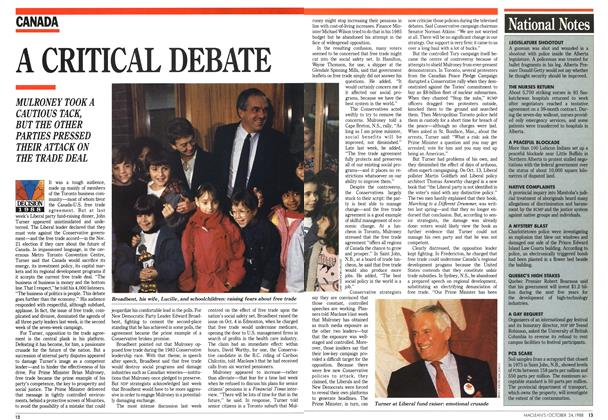 Article Preview: A CRITICAL DEBATE, October 1988 | Maclean's