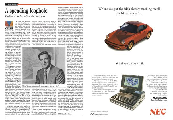 Article Preview: A spending loophole, October 1988 | Maclean's