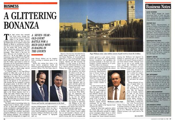 Article Preview: A GLITTERING BONANZA, October 1988 | Maclean's