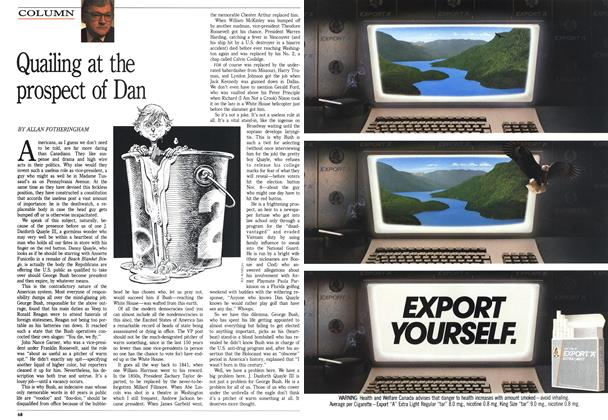 Article Preview: Quailing at the prospect of Dan, October 1988 | Maclean's
