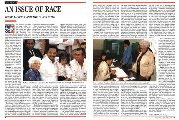 Article Preview: AN ISSUE OF RACE, November 1988 | Maclean's