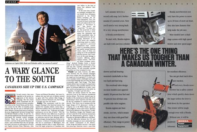 Article Preview: A WARY GLANCE TO THE SOUTH, November 1988 | Maclean's