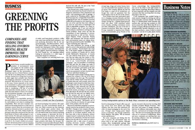 Article Preview: GREENING THE PROFITS, November 1988 | Maclean's