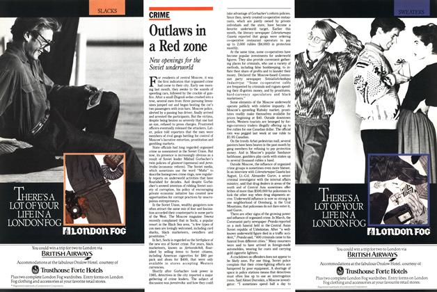 Article Preview: Outlaws in a Red zone, November 1988 | Maclean's