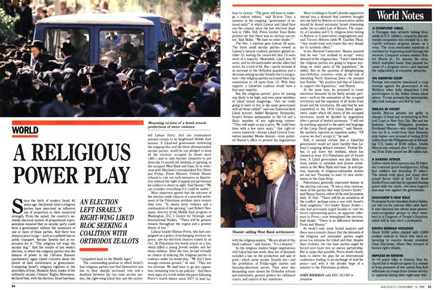 Article Preview: A RELIGIOUS POWER PLAY, November 1988 | Maclean's