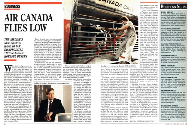 Article Preview: AIR CANADA FLIES LOW, November 1988 | Maclean's