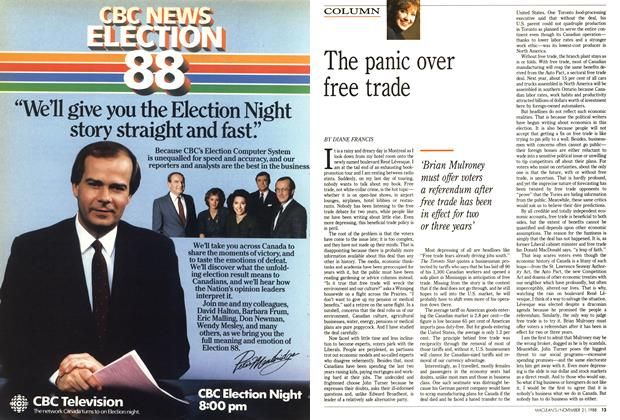 Article Preview: The panic over free trade, November 1988 | Maclean's
