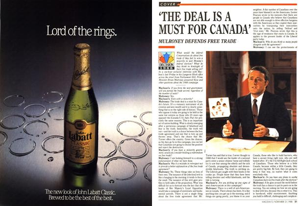 Article Preview: 'THE DEAL IS A MUST FOR CANADA', November 1988 | Maclean's