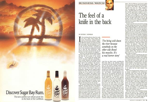 Article Preview: The feel of a knife in the back, November 1988 | Maclean's