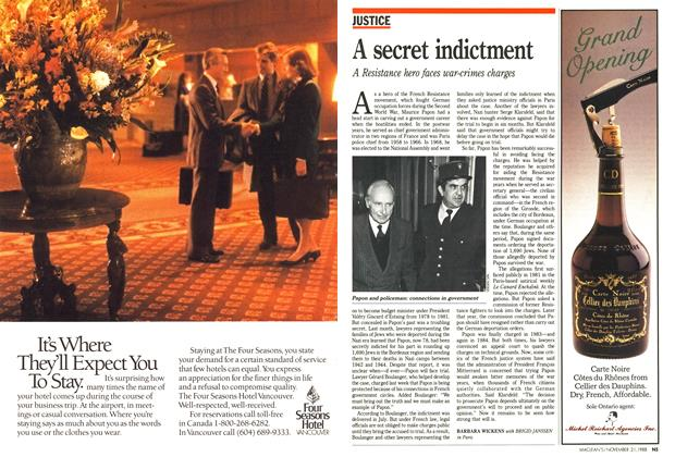 Article Preview: A secret indictment, November 1988 | Maclean's