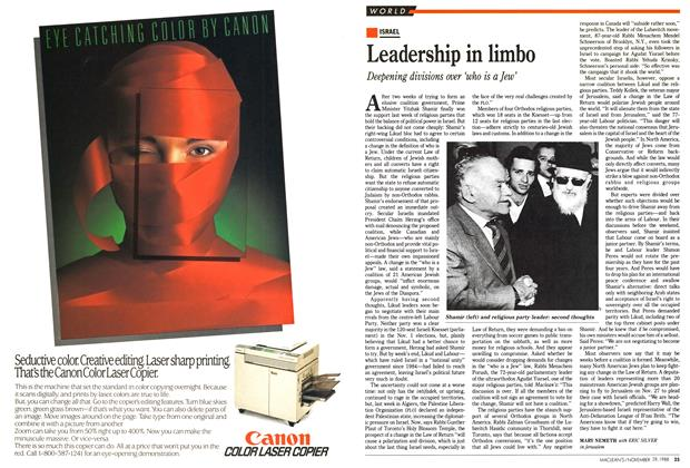 Article Preview: Leadership in limbo, November 1988 | Maclean's