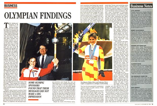 Article Preview: OLYMPIAN FINDINGS, November 1988 | Maclean's