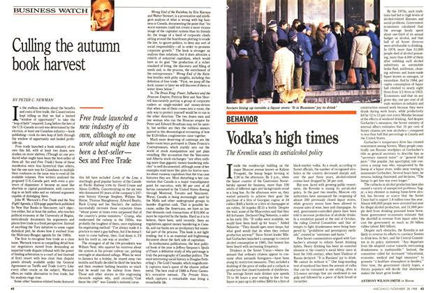 Article Preview: Vodka's high times, November 1988 | Maclean's