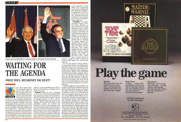Article Preview: WAITING FOR THE AGENDA, December 1988 | Maclean's
