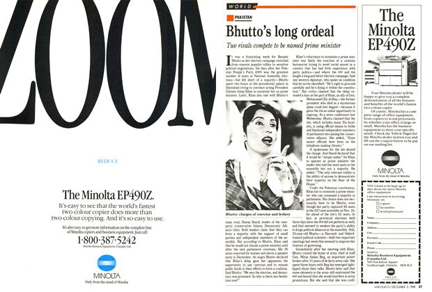 Article Preview: Bhutto's long ordeal, December 1988 | Maclean's