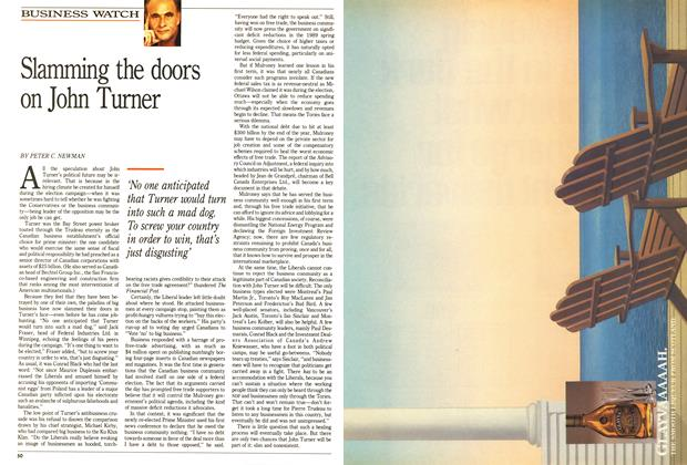 Article Preview: Slamming the doors on John Turner, December 1988 | Maclean's