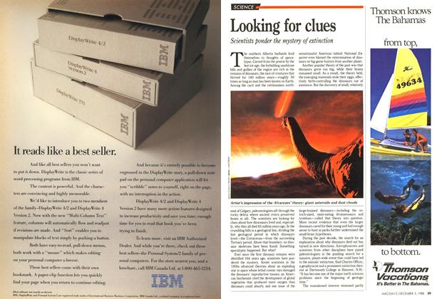 Article Preview: Looking for clues, December 1988 | Maclean's
