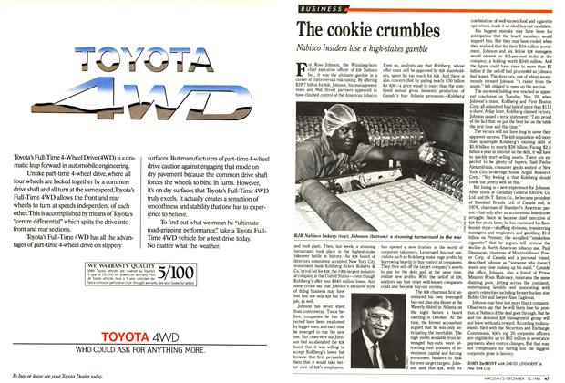 Article Preview: The cookie crumbles, December 1988 | Maclean's