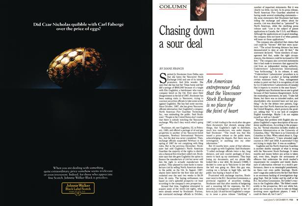 Article Preview: Chasing down a sour deal, December 1988 | Maclean's