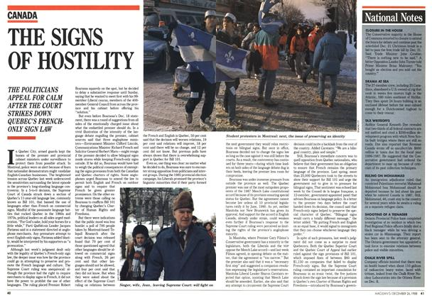 Article Preview: THE SIGNS OF HOSTILITY, December 1988 | Maclean's